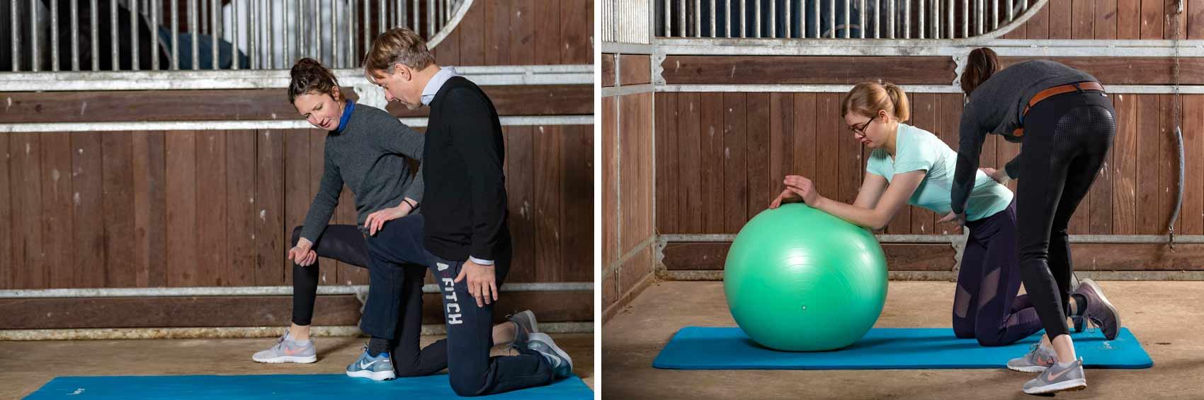 Funktionelles Bewegungstraining für Reiter, Beispielübungen in der Stallgasse